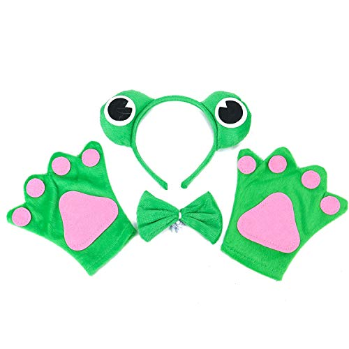 JETEHO Set of 3 Pieces Frog Headband Bow Tie and Paws Set Funny Frog Costume Dress Up Set,Green -