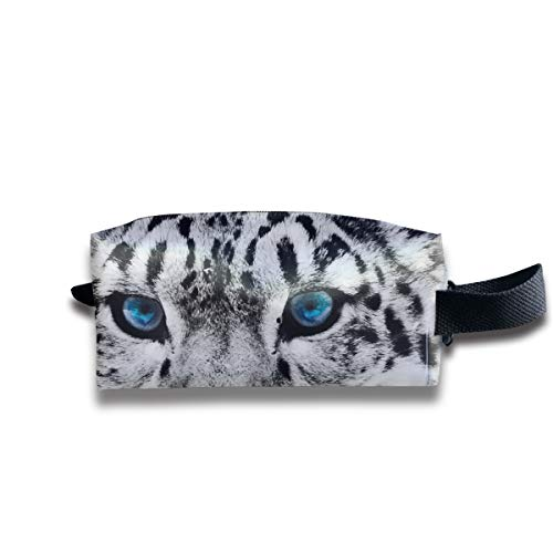 Clash Durable Zipper Wallet Makeup Handbag With Wrist Band Black And White Snow Leopard Cheetah Toiletry -