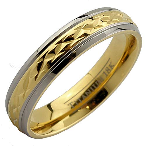 MJ Metals Jewelry 18K Gold Plated Wedding Band Grade 5 Titanium 5mm Ring Size 10