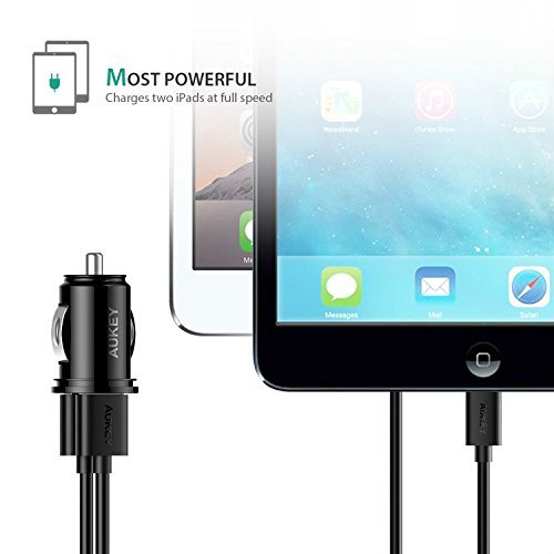 AUKEY auto Charger Flush physically fit dual Port 48A output for iPhone X 8 7 Plus iPad Pro Air 2 little black dress Samsung Galaxy Note8 S8 S8 and extra Black extras Week