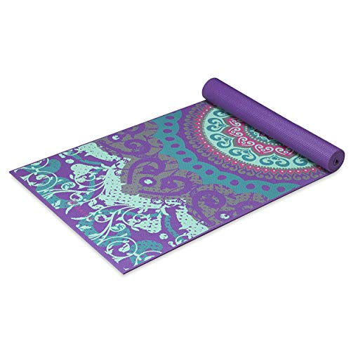 Gaiam Yoga Mat Classic Print Non Slip Exercise & Fitness Mat for All Types of Yoga, Pilates & Floor Exercises, Moroccan Garden, 3/4mm (Ganesha Yoga Mat)