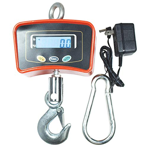 Digital Crane Scale, Lolicute 500 KG / 1100 LBS LCD Display Digital Crane Scale Heavy Duty Industrial Hanging Scale for Farm, Hunting, Bow Draw Weight, Big Fish & Hoyer Lift ()