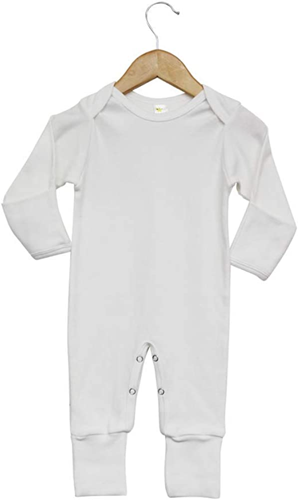 Laughing Giraffe Baby Blank Long Sleeve Sleep and Play PJ w/Mittens & Footie White