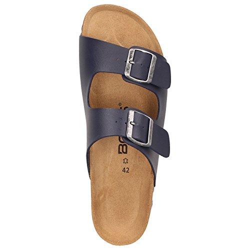 BOWS Schuhe -Ernie- Herren Sandale Hausschuhe Clogs Pantoletten Pantoffeln Zweier-Riemen Leder-Fußbett Blau