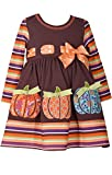Bonnie Jean Toddler Girls' Appliqued Dress, Brown Pumpkin Stripe, 3T