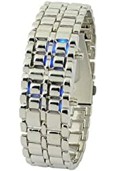 Lady Desgin Carbonized Steel LED Binary Wrist Watch Silver With Blue Light Display
