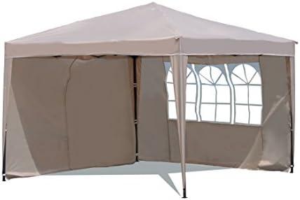 Sekey 3x3m Cenador, Tienda Plegable/Retractable del Partido de jardín, Gazebo Taupe, Modelo de Ischia, con Dos Paredes Laterales de los Pedazos: Amazon.es: Jardín