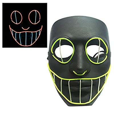 Miseku Halloween Mask,Halloween LED Mask Light Up Mask Glowing for Halloween Festival Cosplay Party Props: Home & Kitchen