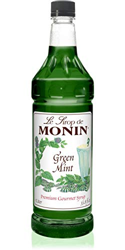 Monin - Green Mint Syrup, Bold Peppermint Flavor, Great for Cocktails, Smoothies, & Teas, Gluten-Free, Vegan, Non-GMO (1 Liter)