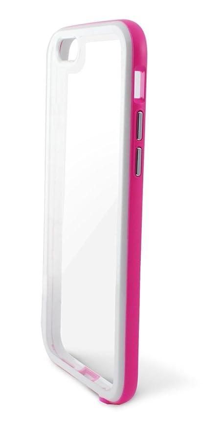 Ksix Hybrid - Carcasa para Apple iPhone 6, 6s, transparente y rosa