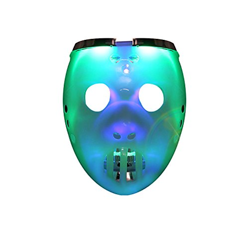DAXIN LED Light Up White Skull Mask Flashing Rave Mask Toy for Man Women Kid - Unique 2 in 2 Mask Colorful light