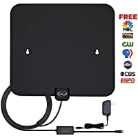 TV Antenna,Vikeri DVB-T9033B High Definition TV Antenna Digital HDTV Antenna 50 Miles indoor TV Antenna with Amplifier Power Supply - 6ft Coaxial Cable