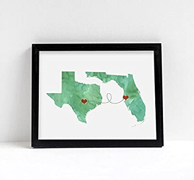 Any Two States Map Art Print Wall Decor - Unframed - WATERCOLOR series - Love Wedding Gift Personalized State Custom Location Engagement Bridal Shower Gift
