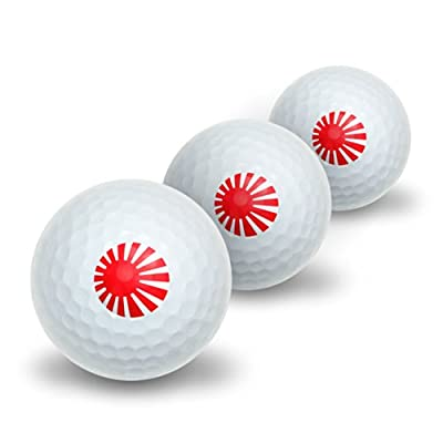 Japan Japanese Flag Rising Sun Novelty Golf Balls 3 Pack