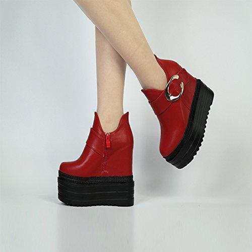XiaoGao cm zapatos botas 15 grueso damas corto fondo De de ocio zapatos gules de Roma r5rnFR