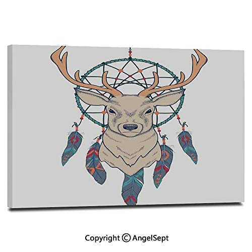Modern Gallery Wrapped Roe Deer with Native American Tribal Dreamcatcher Ethnic Folk Art Style Sketch Decorative Pictures on Canvas Wall Art Ready to Hang for Living Room Kitchen Home Decor,12