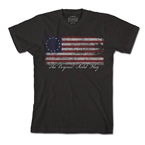 (1776 United Original Rebel Flag Men's T-Shirt, Color Black, Size M)