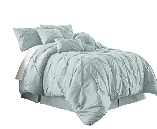 Chezmoi Collection Sydney 7-Piece Pintuck Bedding Comforter Set (California King, Seafoam Green)