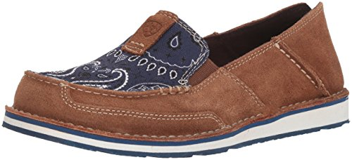 Ariat Women's Cruiser Slip-on Shoe, Toffee/Blue Paisley Print, 5.5 B US