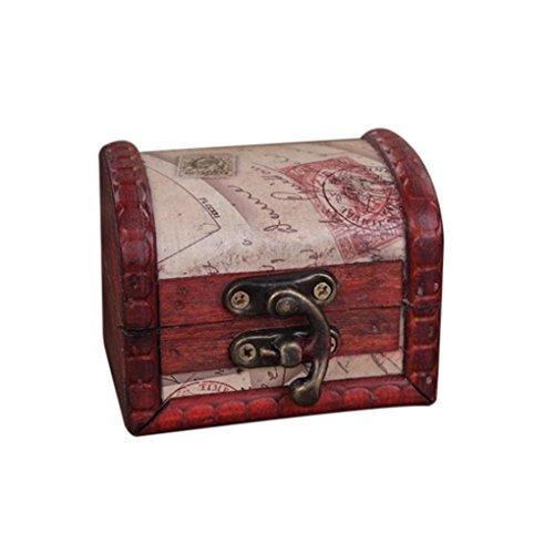 Botrong Decorative Trinket Jewelry Storage Box Handmade Vintage Wooden Treasure Case for Keeping Jewelry,Earrings, Rings