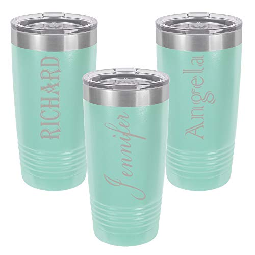Personalized Tumbler 20 oz. with clear Lid | Different Designs | Engraved Travel Cups | Double-Wall Vacuum Insulated | Unique Gift for Him and Her (Teal)