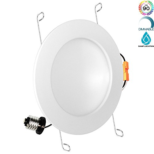 Luxrite 6 Inch LED Indirect Light Fixture, 15W (100W Equivalent), 4000K Cool White, 1050 Lumens, Dimmable, CRI 90, Indirect Lighting, 150° Beam Angle, Damp Rated, ETL Listed, E26 Base, 1-Piece