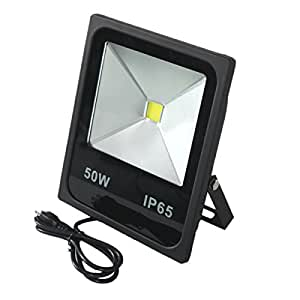 Rextin Waterproof 50W LED Flood Lights White IP66 4980LM Outdoor LED securtity light with US 3 Plug , Wall Washer Light (50W, White)