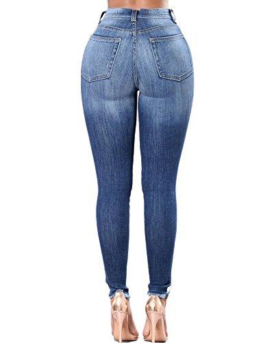 Dchirs Skinny Crayon Broderie Femmes Pantalon Slim Jeggings Collants Fleur Bleu fonc Jeans Denim Stretch Jeans 84xxgtqS