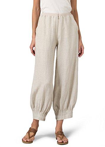 Vivid Linen Pleated Cuff Crop Pants-S-Oat
