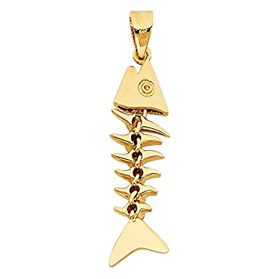 Solid 14k Yellow Gold Fish Bone Dangle Pendant Nautical Charm Genuine Quality 3D Design 27 x 8 mm by ZenJewels