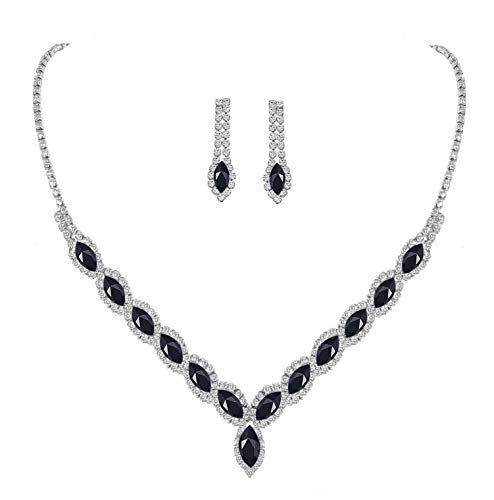 (YSOUL Sparkling CZ Rhinestone Necklace Earrings Jewelry Set for Bridal Bridesmaid Wedding Evening Party Prom (Black))