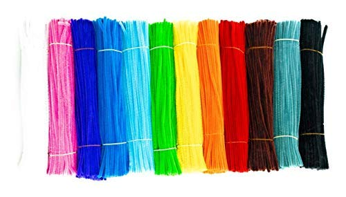 1,200 Pipe Cleaners in 12 Assorted Colors Value Pack of Chenille Stems for DIY Arts and Craft Projects and Decorations