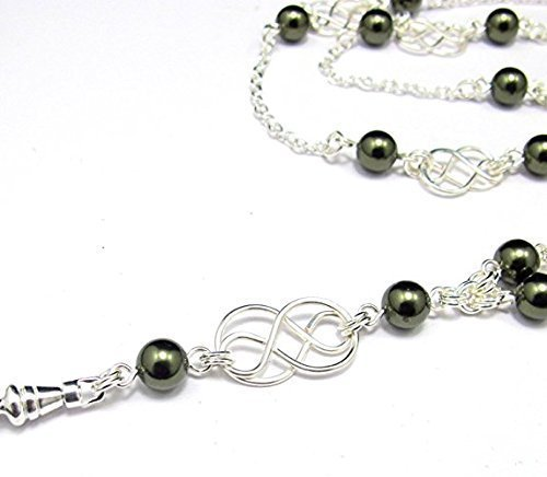 Brenda Elaine Jewelry | Real Silver Plate | Women's Fashion Lanyard Necklace for ID Badge Holders | 32 Inch Silver Chain with Silver Celtic Knots and Dark Green Swarovski Pearls & Rear Lobster Clasp (Conference Swivel)