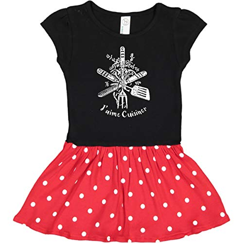 Inktastic J'aime Cuisiner Infant Dress 12 Months Black & Red with Polka Dots