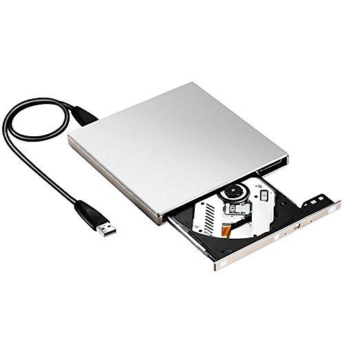 External CD/DVD Drive,eTTgear USB 3.0 CD Drive for Laptop,Portable Ultra-slim Burner High Speed Data Transfer dvd Player Support Macbook/Notebook/PC Desktop Computer Mac OS/Windows/Vista-Silver by ETTG