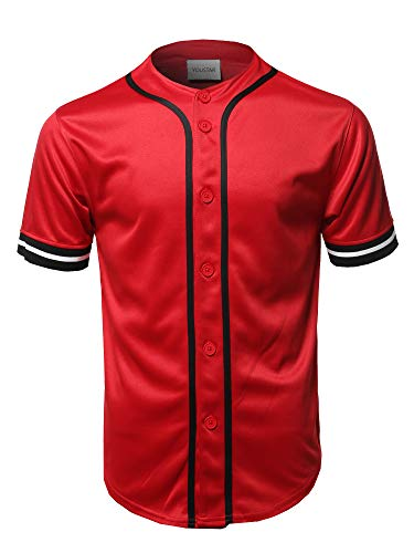 Casual Hipster Short Sleeves Baseball Inspired Jersey Top Red M