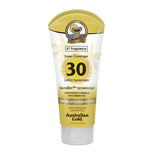 Australian Gold Sheer Coverage Sunscreen Lotion SPF 30, 6 Ounce   Lightweight & Invisible Dry   Broad Spectrum   Water Resistant from Australian Gold