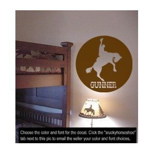 Horse, bronc, western, personalized, decal, sticker, vinyl, wall, decor, 28 inch diameter