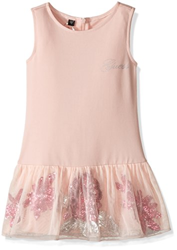 GUESS Little Girls' Heavy Stretch Jersey Dress with Mesh and Sequin Skirt, Neutral Pink, 2 -
