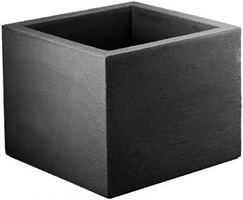 Geli Thermo Plastic Kubus-Maceta de plástico, diseño cuadrado, color gris oscuro