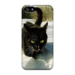 CloudTown Case Cover Protector Specially Made For Iphone 5/5s Blacka Cat In The White Snow