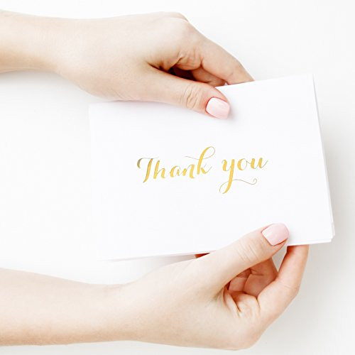 Thank You Cards with Envelopes - Set of 100 Elegant Thank You Notes with Gold Foil Embossed Letters - Perfect for any Occasion like Weddings, Baby showers etc. - incl. 100 Free (Gold Embossed Envelope)