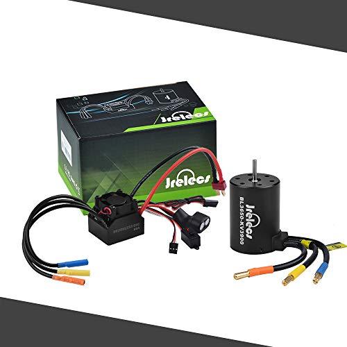 Jrelecs Kingbox 3650 3900KV 4P Sensorless Brushless Motor & 60A Brushless Splash-Proof Electronic Speed Controller ESC with 5.8V/3A Switch Mode BEC for 1/10 RC Car (3650 ()