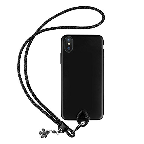 pzoz Case Compatible iPhone X Case, Slim Silicone Lanyard Case Cover Holder Long Hanging Neck Wrist Strap Outdoors Travel Necklace Compatible iPhone X (Black)