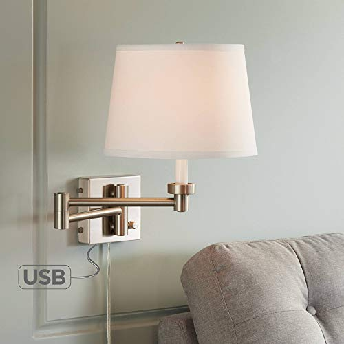 Vero Brushed Nickel Plug-in Swing Arm Wall Lamp with USB - 360 Lighting ()