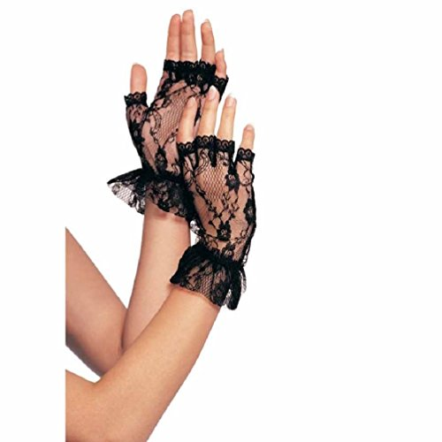 Sexy Black Stretch Lace Gauntlet Arm Warmers Scalloped Ruffle Trim Gloves Flower