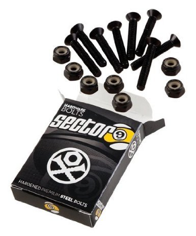 Sector 9 Black Longboard Skateboard Hardware Set - 1 1/2 8pcs