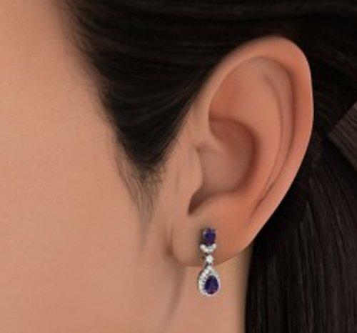18K Or Blanc 0,32CT TW Round-cut-diamond (IJ | SI) et iolite Pendants d'oreilles