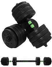 Verstelbare vinyl halters 40 kg - 2-in-1 korte halters set van 2 met stang - gewichtenset voor thuistraining - fitnessgewichten voor spierversterking en bodybuilding