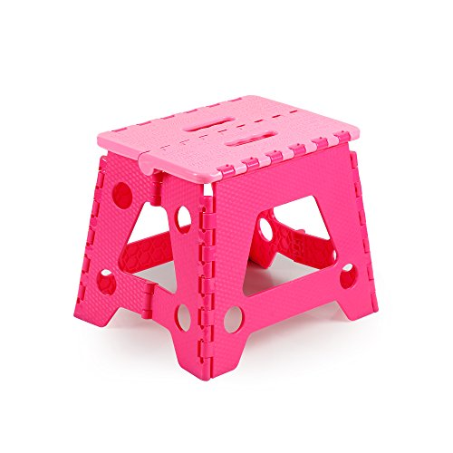 Colorful Plastic Folding Step Stool, Home, Camping, Fishing Essential Goods, 11 Inch Height and Strong Grip Ground for Kids & Adults (Pink-red)